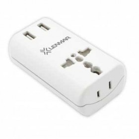 Lenmar All-in-One International Travel Adapter with 2X USB Port, White