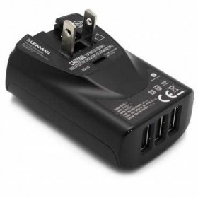 Lenmar 3X USB Wall Adapter w/ International Adapter Plugs, 3.4 Amp, Black
